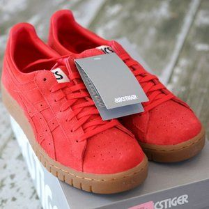 NEW ASICS Tiger Red Suede Leather Gum Sole Shoes